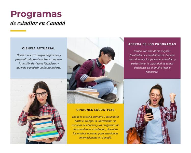 Programas de estudio en canadá Plantilla de sitio web