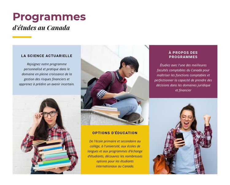 Programmes d'études au Canada Modèle de site Web