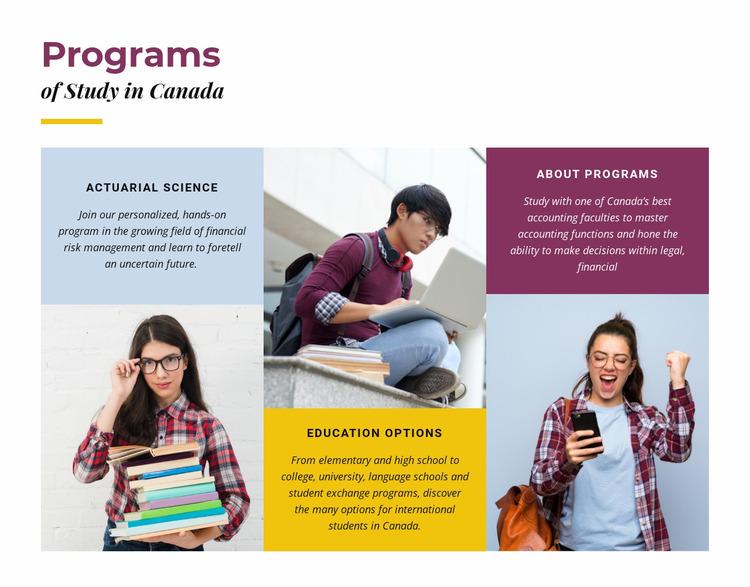 Programs of study in canada Website Mockup