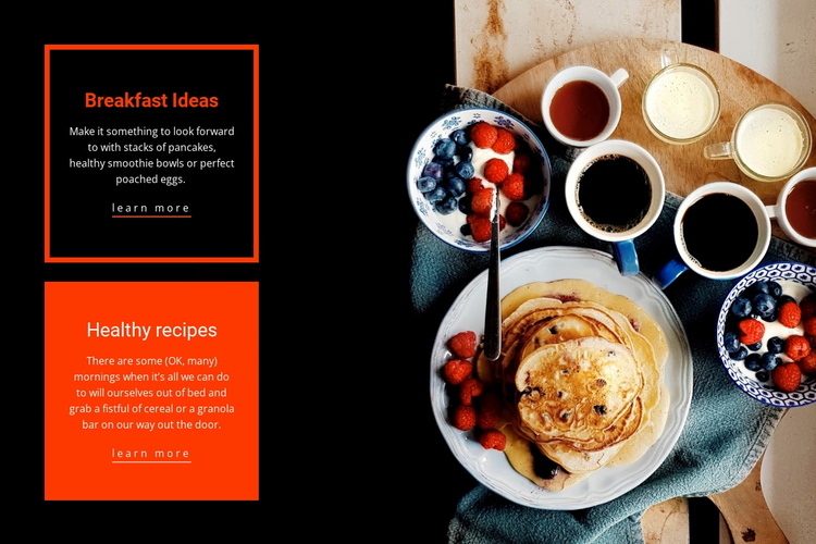 Healthy recipes breakfast Website Builder Software