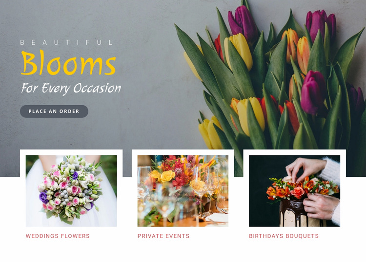 Blooms occasion beautiful Html Website Builder