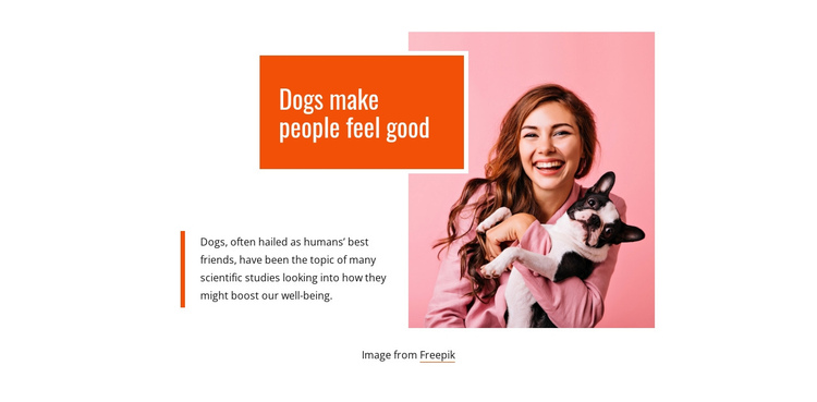 Dogs makes people feel good One Page Template
