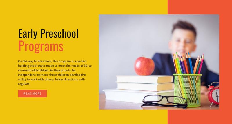 Early preschool programs Web Page Design