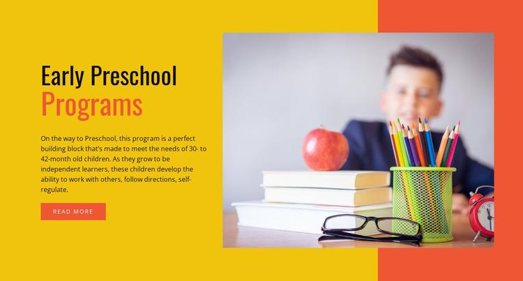 Early preschool programs Website Mockup