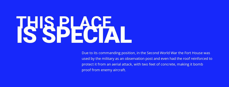 Title, text on blue background Web Design