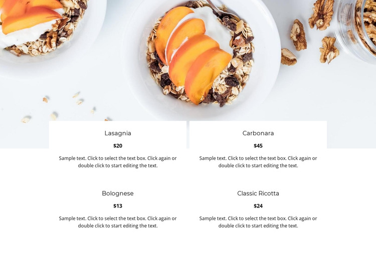 Italian restaurant menu HTML Template