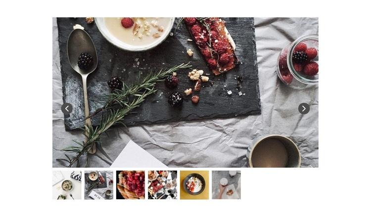 Slider with food photo Web Page Designer