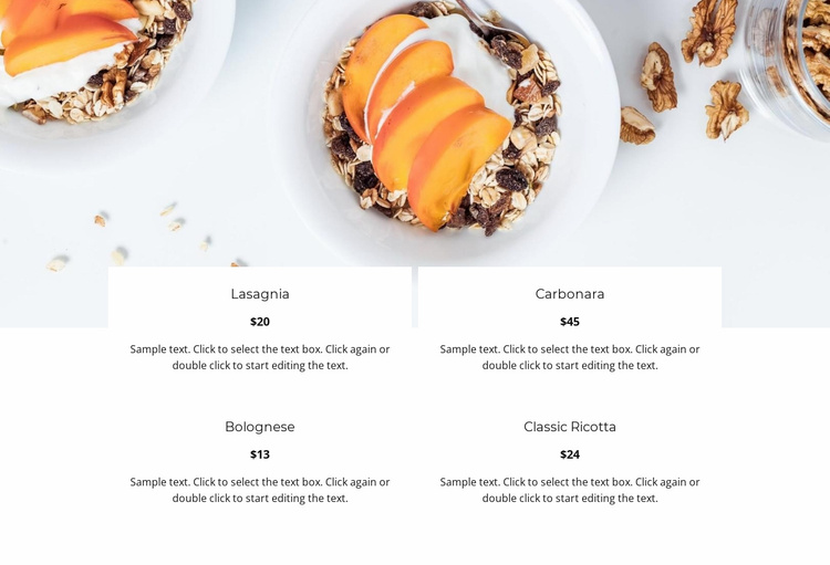 Italian restaurant menu Landing Page