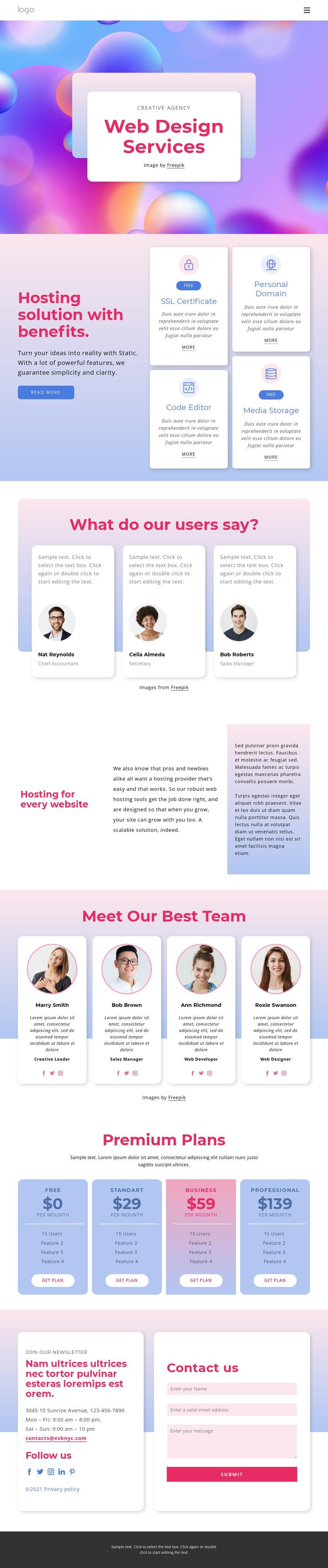 Website design with hosting HTML Template