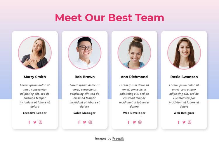Meet our team block HTML Template