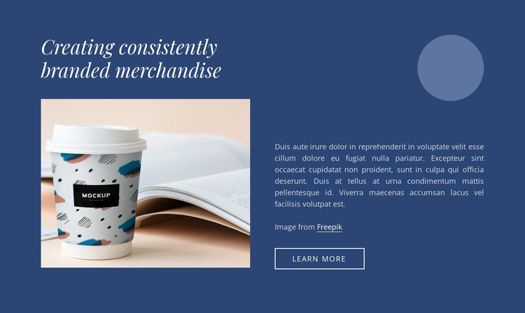 Creating branded merchandise Website Mockup