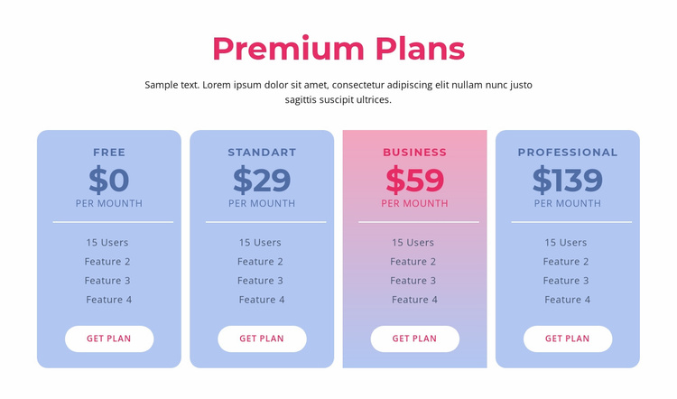 Premium hosting plans Website Template