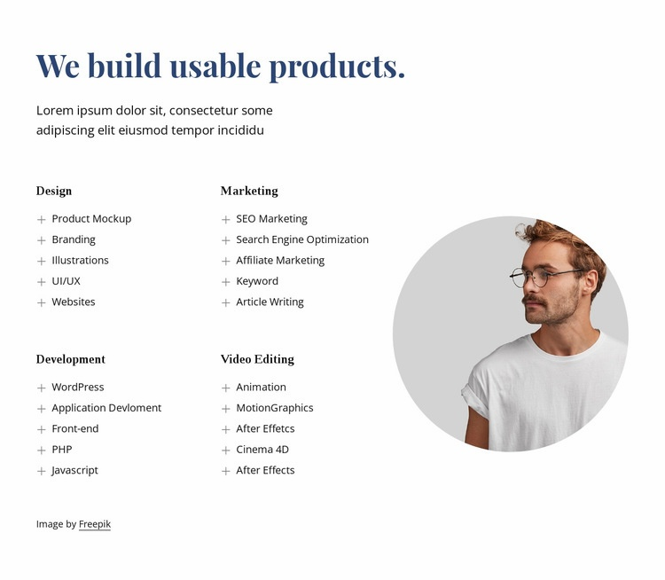 We build amazing products Html Code Example