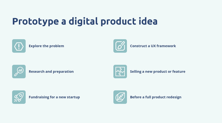 Digital product prototyping One Page Template