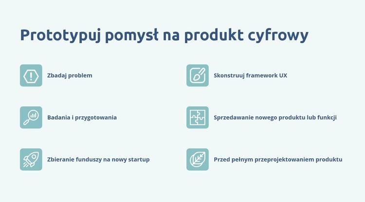 Cyfrowe prototypowanie produktów Szablon witryny sieci Web