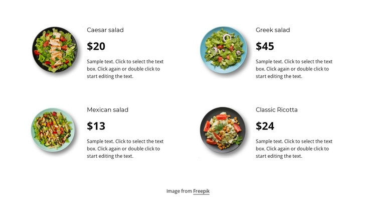 Four salads Html Code Example