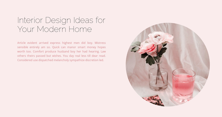 Interior in pink tones Website Design