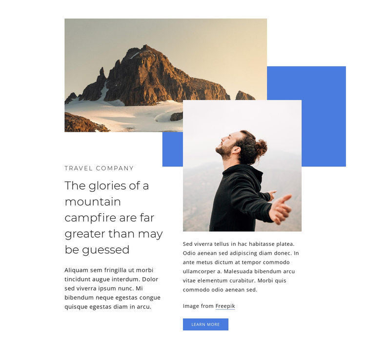 Mountain travel blog One Page Template