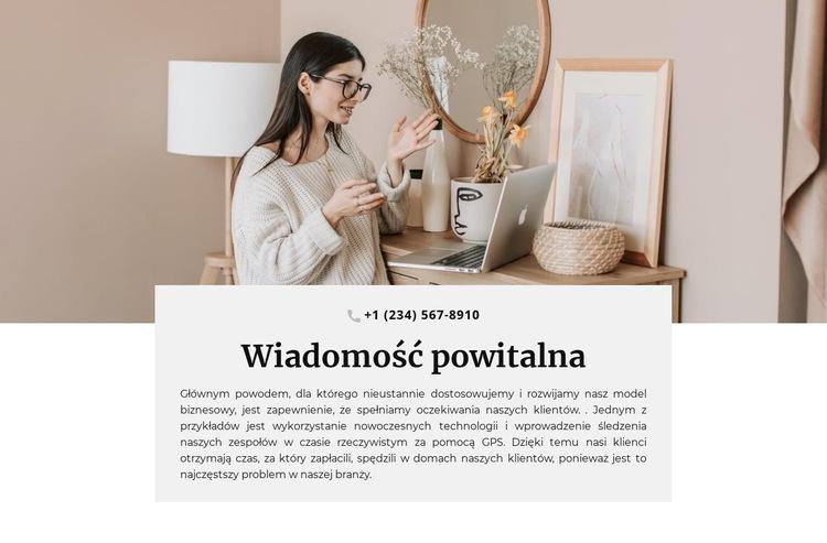 Wiadomość powitalna i telefon Szablon witryny sieci Web