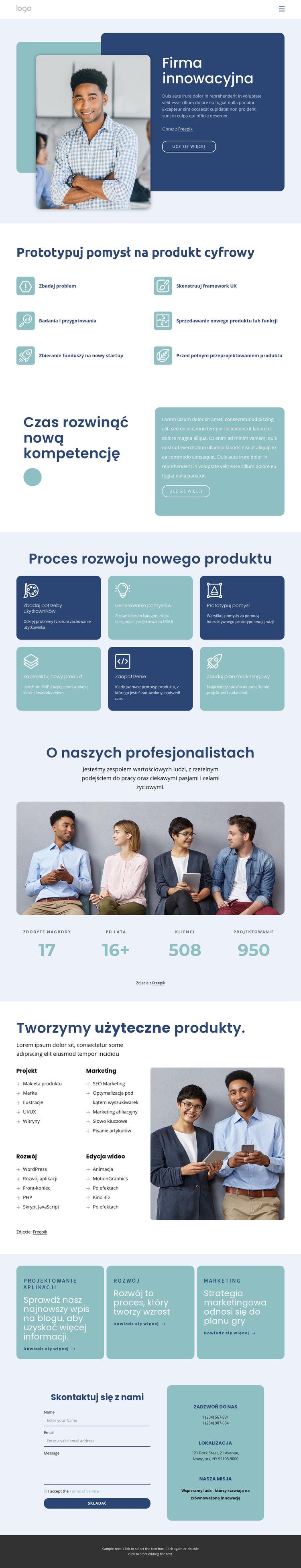 Firma innowacyjna Szablon witryny sieci Web