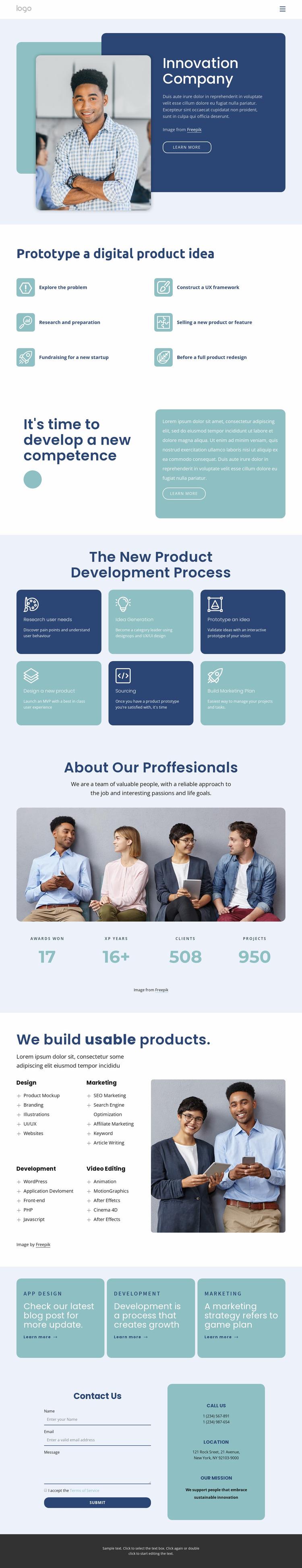 Innovation company Website Mockup