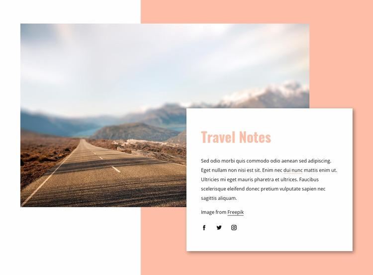 Travel notes Website Mockup