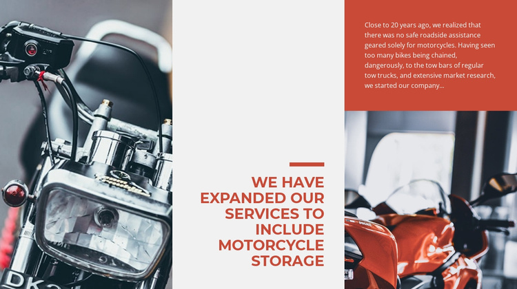 Services Motorcycle Storage Website Template