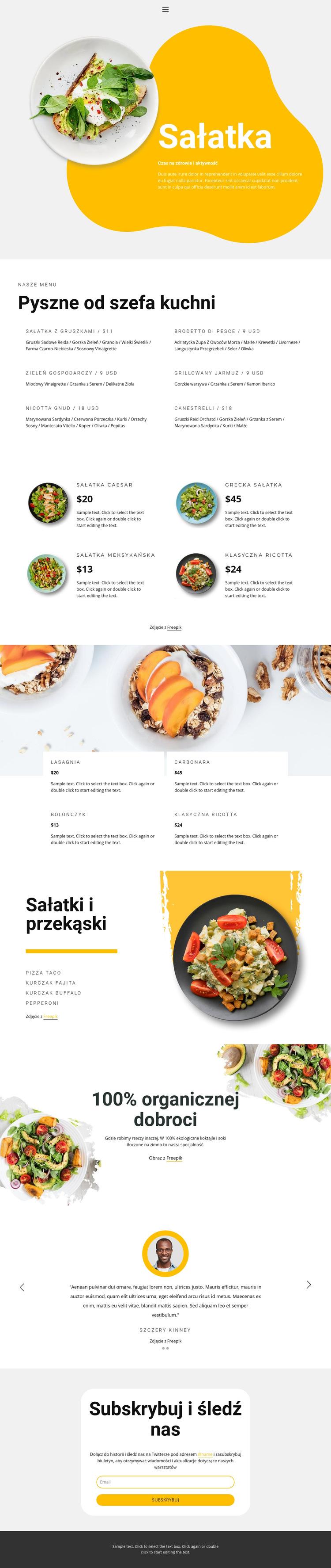 Zdrowa żywność ekologiczna Szablon witryny sieci Web