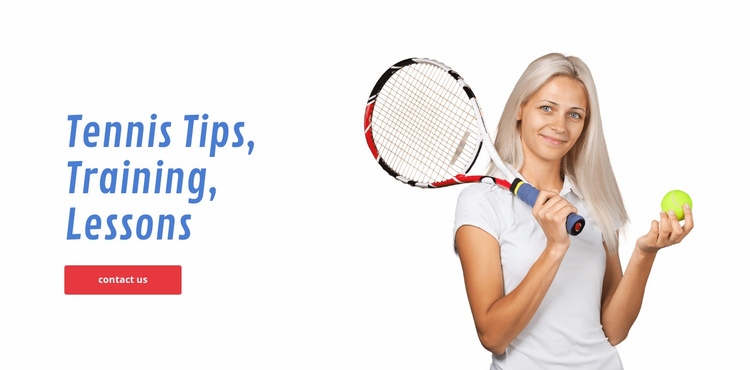 Tennis tips, training, lessons Website Template