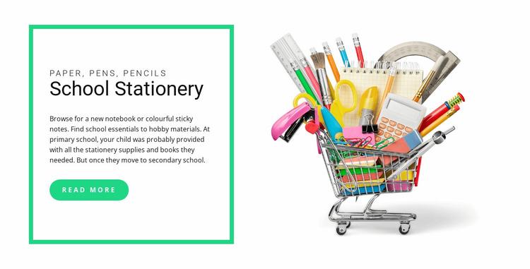School stationery Website Mockup