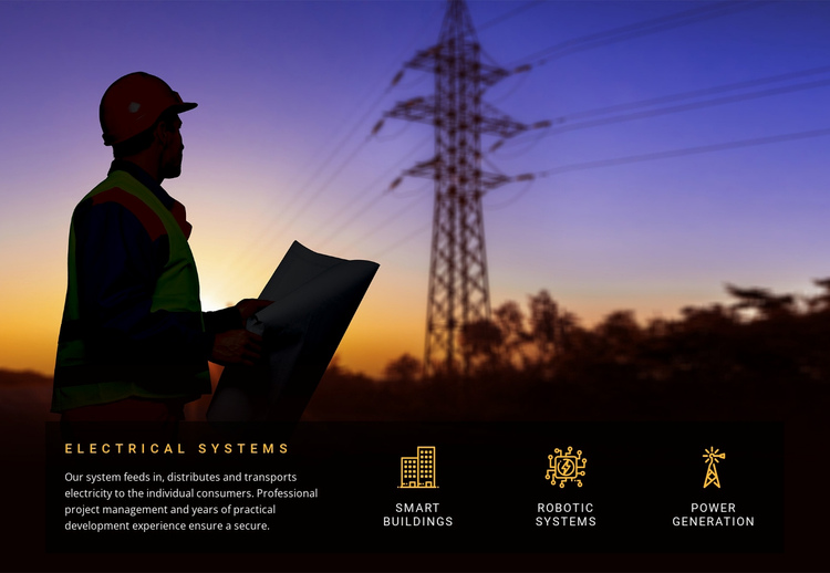 Electrical systems services  One Page Template