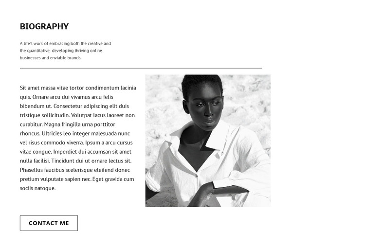 Biography of top model HTML Template