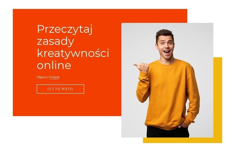 Zasady kreatywności online Szablon witryny sieci Web