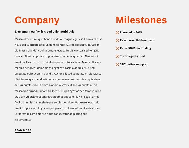Milestones Web Page Design