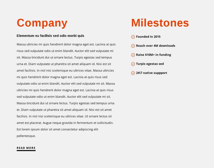 Milestones Website Mockup