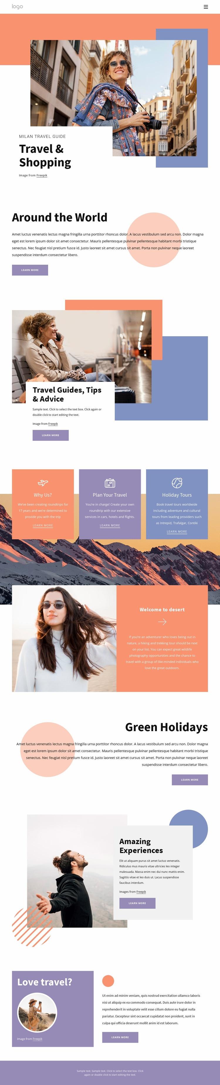 Shopping in Milan Web Page Designer