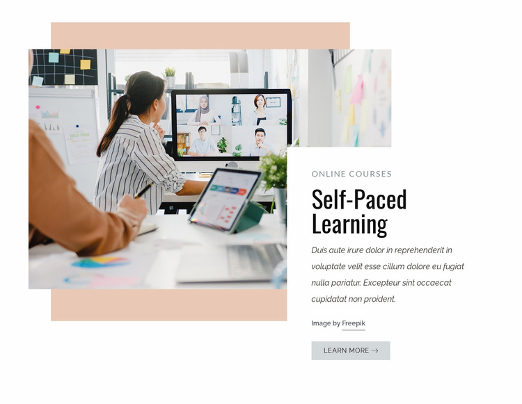 Self-paced learning Website Mockup