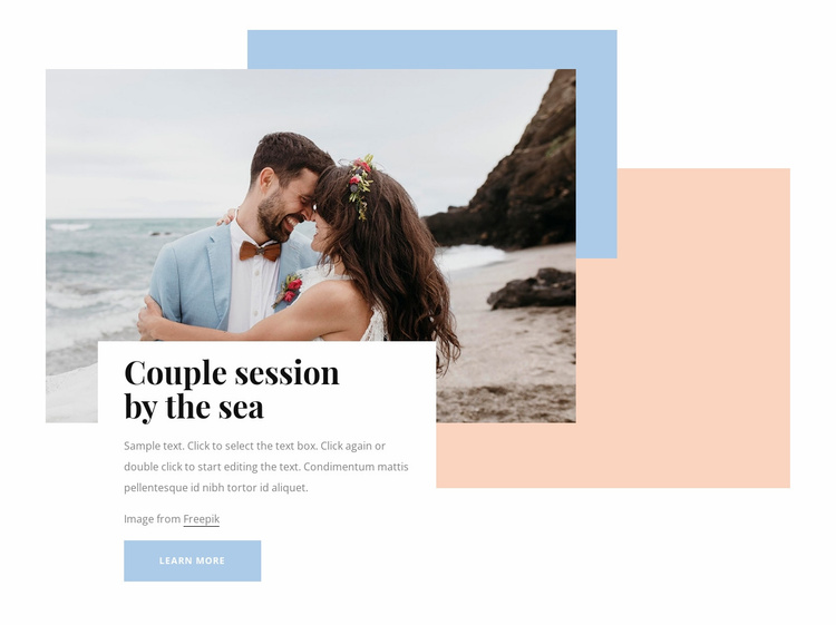 Couple session by the sea Website Template