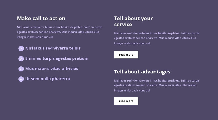 Lots of text in columns HTML Template