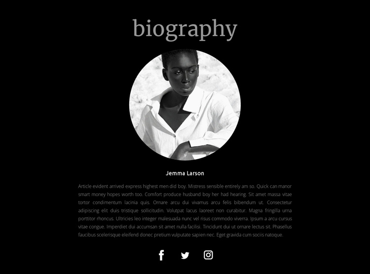 Biography of the designer One Page Template