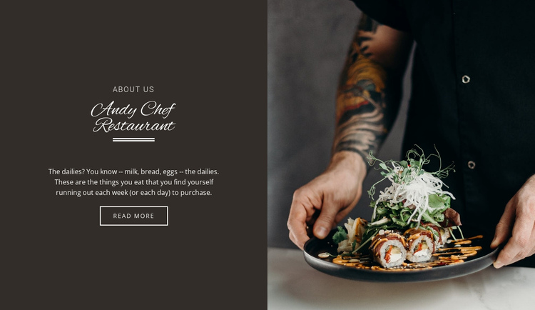 Andy Chief Restaurant One Page Template
