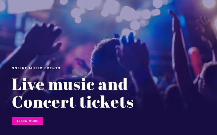 Live mosic and concert tickets  Website Design