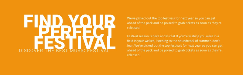 Find your perfect festival  Web Page Design