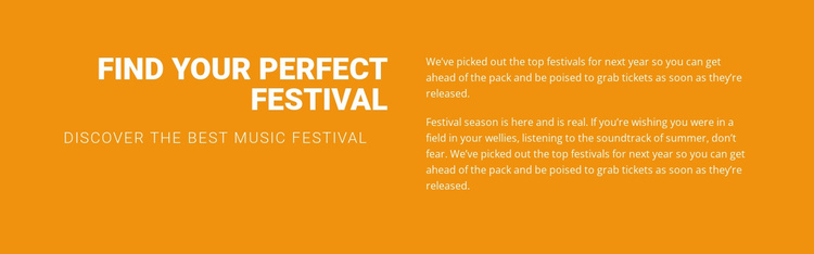Find your perfect festival  Landing Page