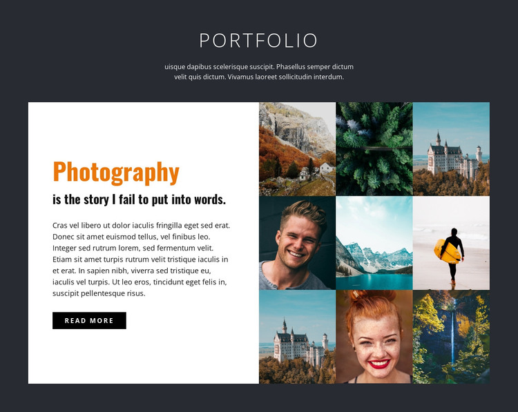 Professional photography portfolio  HTML Template