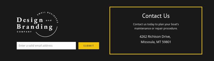 Logo and contact form Website Design