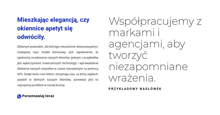 Blok tekstowy z tytułem Szablon witryny sieci Web
