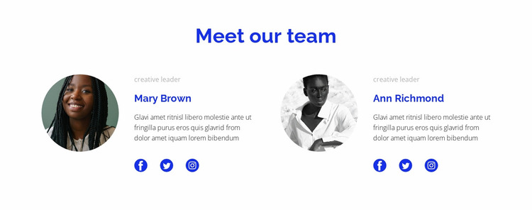 Two people from the team Website Mockup