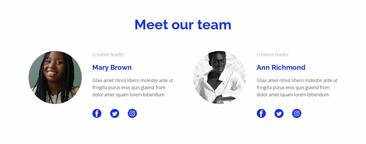 Two people from the team Website Template