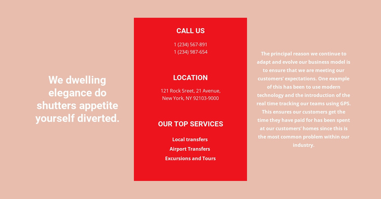 Contact details and text Website Template